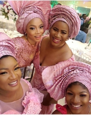 Cute Photos Of Omotola Jalade-Ekeinde, Toke Makinwa And Chigul At A Wedding
